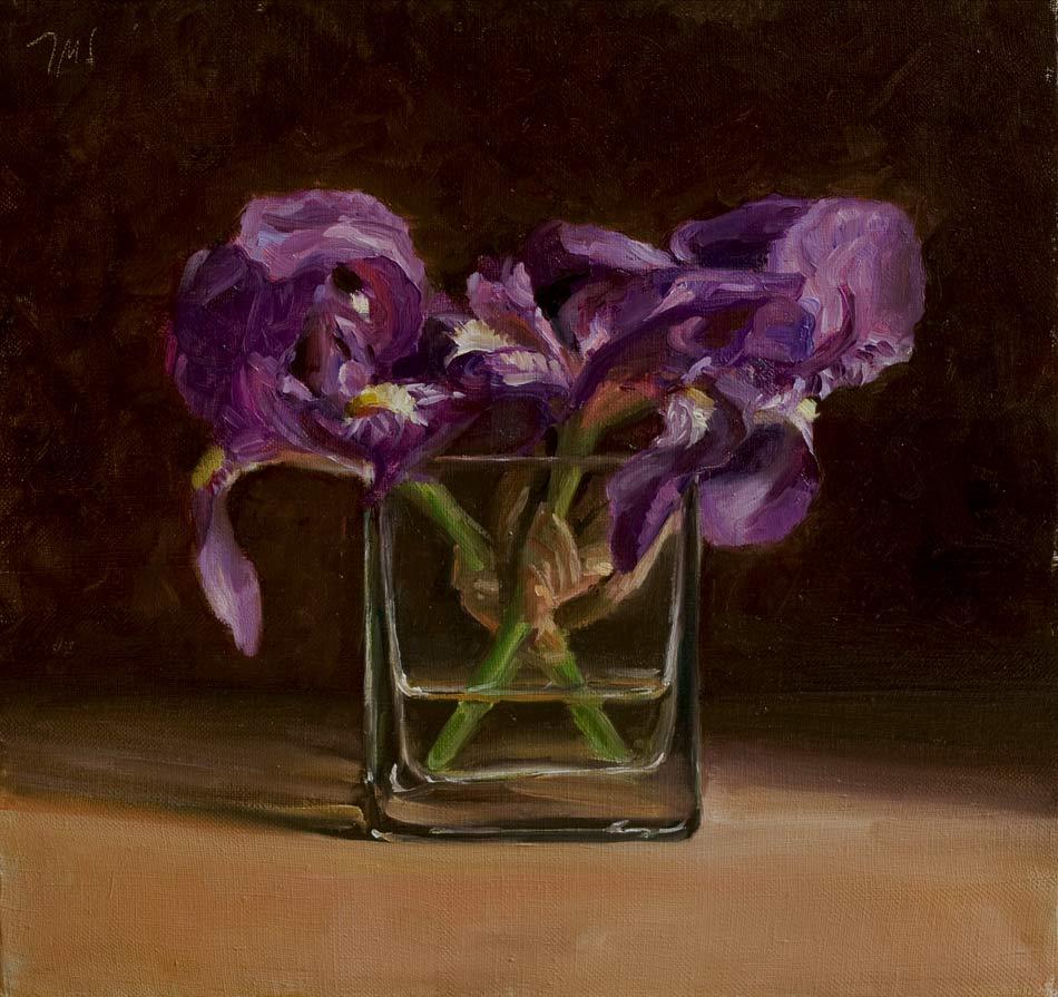 Wild Irises In A Glass Vase A Still Life Painting By British Artist Julian Merrow Smith